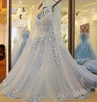 Hot Sale Romantic Flowers Wedding Dress Blue Beading Sequined Tulle Sexy Shawl Yarn Bridal Gown 2018 Vestido De Noiva
