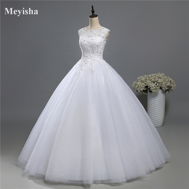 ZJ9139 Ball Gown Real Images Lace Tulle 2020 Wedding Dresses 2019 Dresses Bridal Dress Plus Size Shine Skirt Crystal Beads 3
