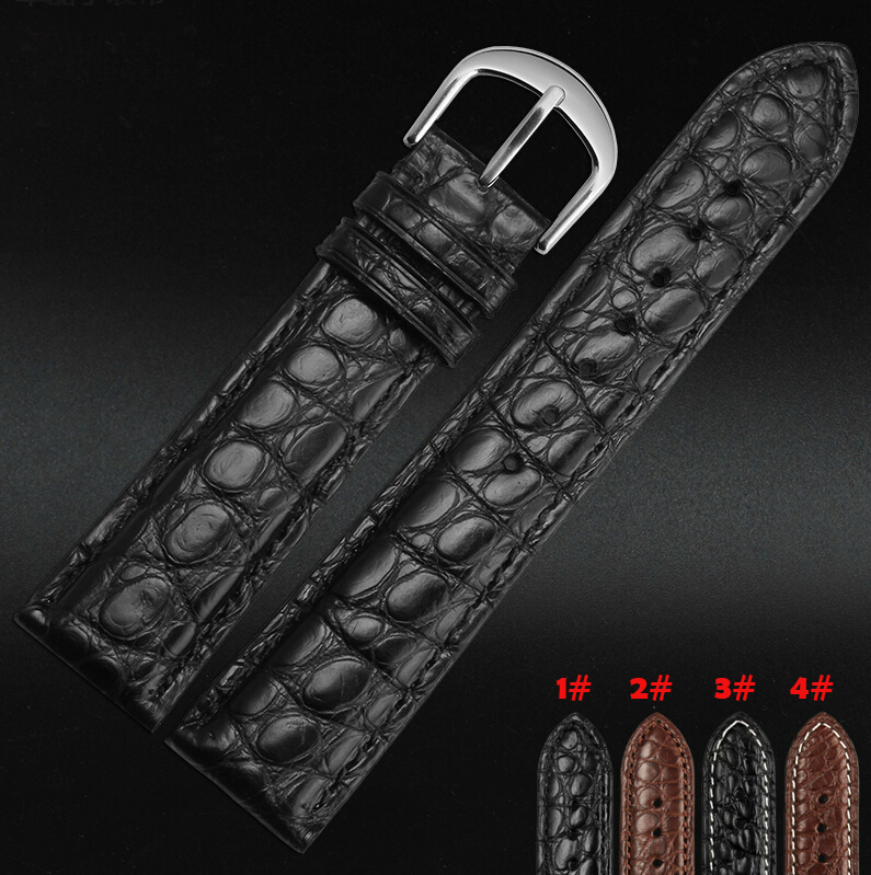 18mm 20mm 21mm 22mm New Mens Black Brown Alligator Leather Watch Strap Band Deployment Watch buckle new mens genuine leather watch strap bands bracelets black alligator leather 18mm 19mm 20mm 21mm 22mm 24mm without buckle