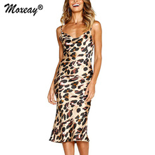Moxeay Leopard 2019 Women Long Beach Dress Sexy Party Backless Print Sleeveless Dresses Casual Vestidos