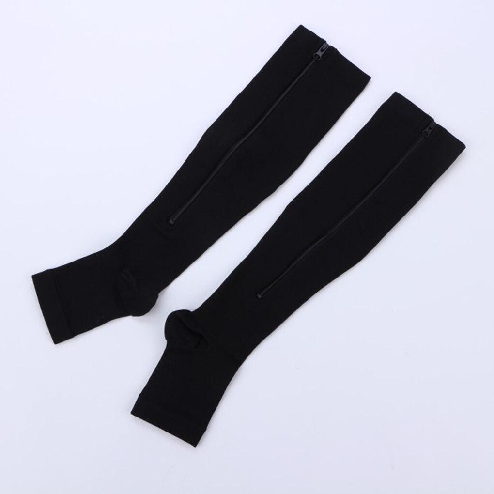 Fashion Nylon Zipper Compression Sock Leg Knee Support Open Toe Preventing Varicose Veins Stretch Socks