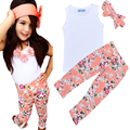 High Quality Summer Kids Girl Clothing Set Fashion White T shirt+Flower Pants+Headband 3pcs Set Brand Baby Girl Children Suit