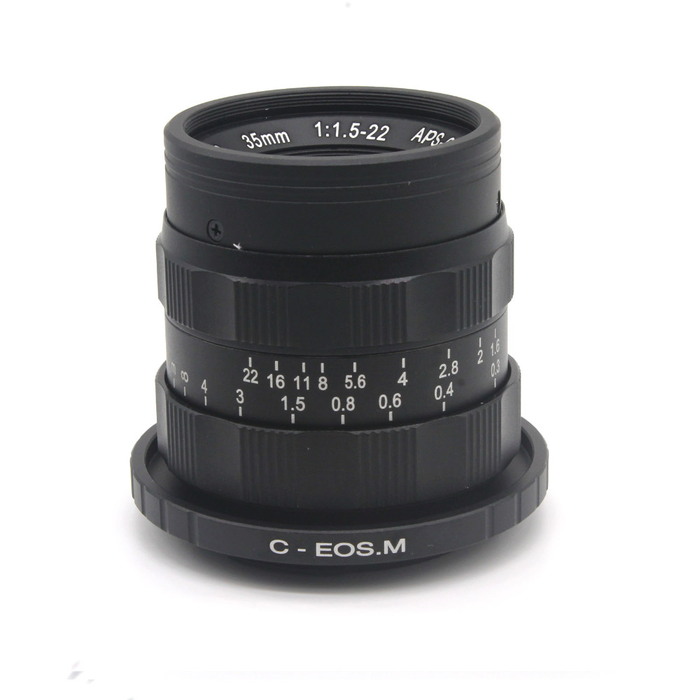 ФОТО Mirroless for APS-C Camera 35mm f/1.6 33mm f1.6 with C-EOSM adapter ring  for  Canon EOS M / M2 / M3
