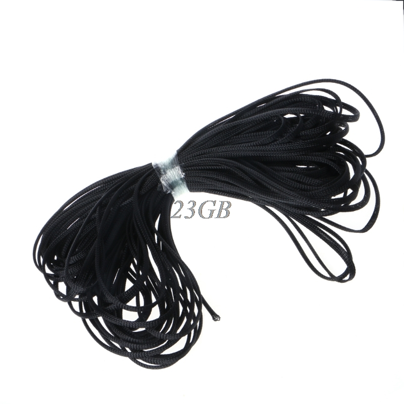 6mm*30m Braided Expandable Nylon Cable Mesh Harness Wire Sleeving Sheathing Black M01