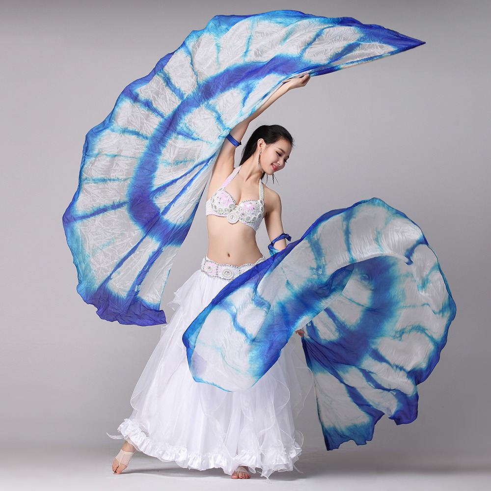 100% Silk Belly Dance Isis Wings With Sticks Stage Performance Props 1 Pair Half Moon Silk Veils