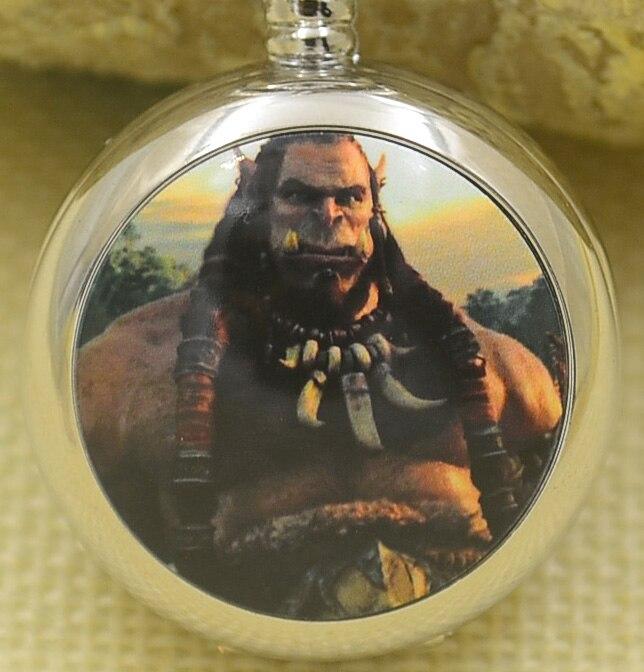 Wholesale Fashion Quartz Pocket Watch Necklace Women World Of Warcraft Silver Mirror Fob Watches Gift Cartoon Movie Antibrittle