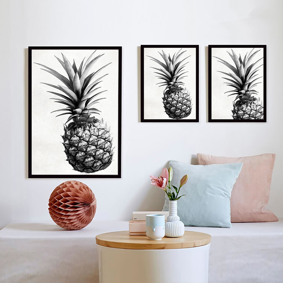 Gray Pineapple Posters Wall Art Home Decor Canvas Modern