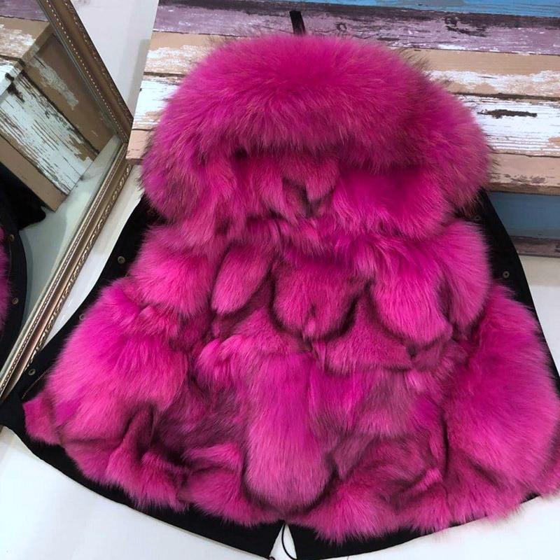 Enfant parka 2018 hiver réel de fourrure de veste enfant véritable renard fourrure à l'intérieur mince mode chaud manteaux avec grand raton laveur fourrure à capuchon outwear