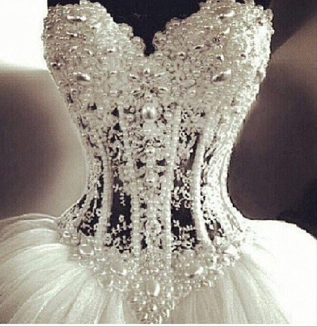 d7e9eea18d3 Luxurious Bling Strapless Ball Wedding Dresses Corset Bodice Sheer Bridal  Crystal Pearl Rhinestones Tulle Gowns In