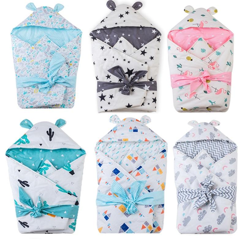 Envelope for newborns Swaddle 75*80cm infant Swaddling Blanket Swaddle Wrap Winter Cotton printed baby Sleeping Bag bedding