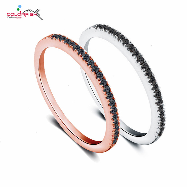 12c3663c0 COLORFISH 925 Sterling Silver Simple Fine Ring Women 1mm Black Cubic  Zirconia Wedding Band Female Thin Finger Stacking Rings