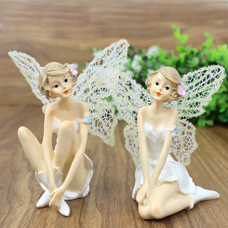 Artificial angel fairy figurines resin crafts miniature for Home ornaments