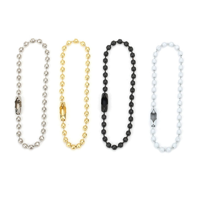 20/50pcs Gold/White Round Ball Bead Chains 12cm 15cm Length Dog Tag Bulk Chains With Connector For DIY Pendant Jewelry Findings