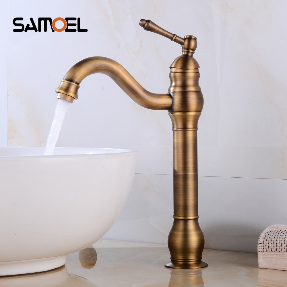Basin faucet antique brass bathroom faucet rotate single handle hot and cold water mixer taps crane af1093 in basin faucets from home improvement on
