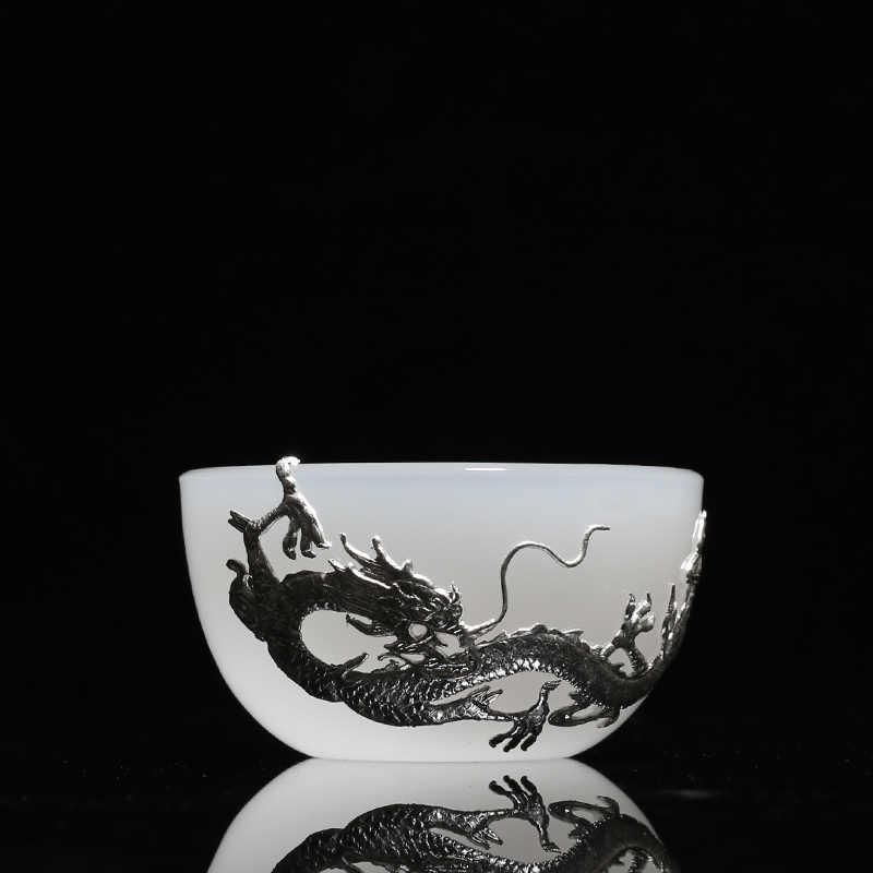 PINNY 85 ML หยกจีนเงิน Master Teacups Silver Dragon และ Phoenix ตกแต่งถ้วยชาจีน Kung Fu ชา drinkware