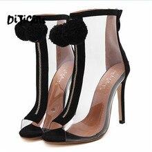 Женские босоножки на высоком каблуке открытый носок прозрачный Ботильоны Лето Нечеткие Бал помпоном Римские сандалии Bootie; обувь на шпильке