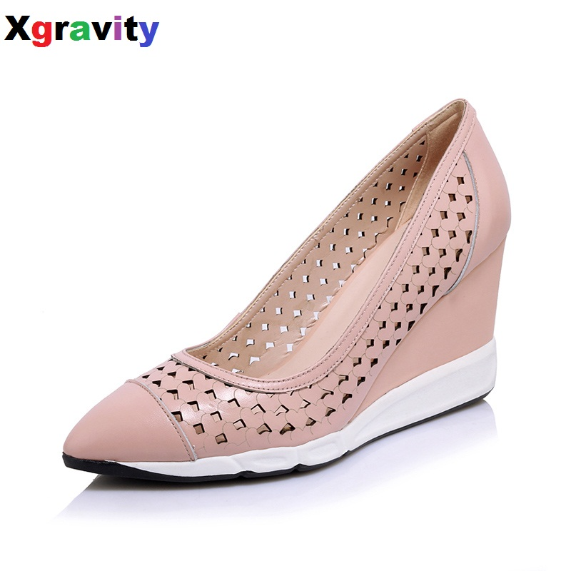 Hot Sale 2017 Summer Autumn Girl Genuine Leather Wedges Cut-Out High Heel Closed Toe Dress Shoes Sexy Point Toe Wedge Shoes B272 2016 autumn spring shoes european american high heel wedges girl s wedding shoes genuine leather bridal wedge shoes c065
