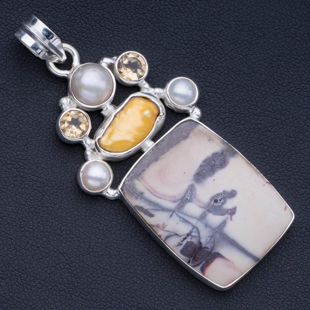 Royal Imperial Jasper,Biwa Pearl,River Pearl and Citrine 925 Sterling Silver Pendant 2 1/4 P0989Royal Imperial Jasper,Biwa Pearl,River Pearl and Citrine 925 Sterling Silver Pendant 2 1/4 P0989