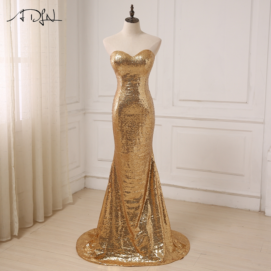 ADLN Cheap Gold Sequin Bridesmaid Dresses Sleeveless Sweep Train Sweetheart Sexy Wedding Party Formal Dress Vestidos de Fiesta