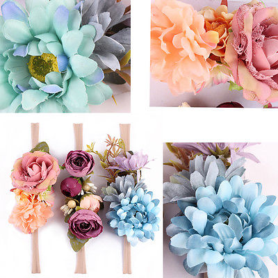 3pcs Cute Kids Baby Girl Flower Headwear Accessories Blue Red Girls Floral Hair Band Headwear Headband Holidays Accessories