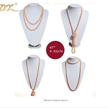 """JYX Elegante Schmuck Perle Lange Strang Halskette Natürlichen 8-9mm Pink Zucht Süßwasser Perle Halskette 48 """"viele tragen weg"""