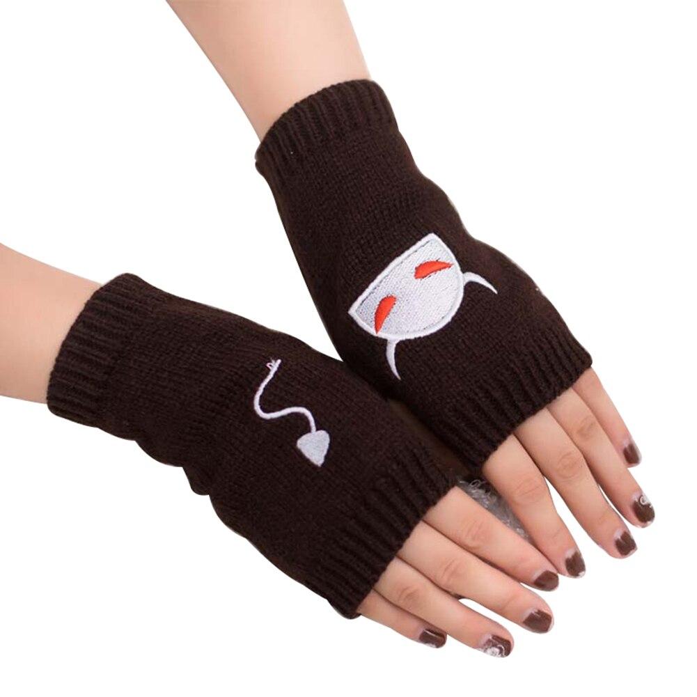 Cartoon Devil Pattern Yarn Women Embroidery Winter Half Hand Fingerless Gloves
