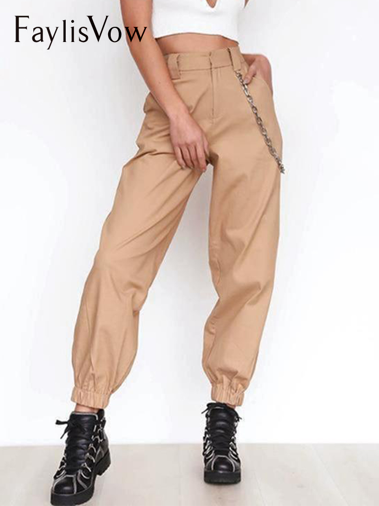Women Cargo Casual Pants Solid High Waist Chain Trousers Loose Streetwear Camouflage Joggers Harem Pants For Women Spring