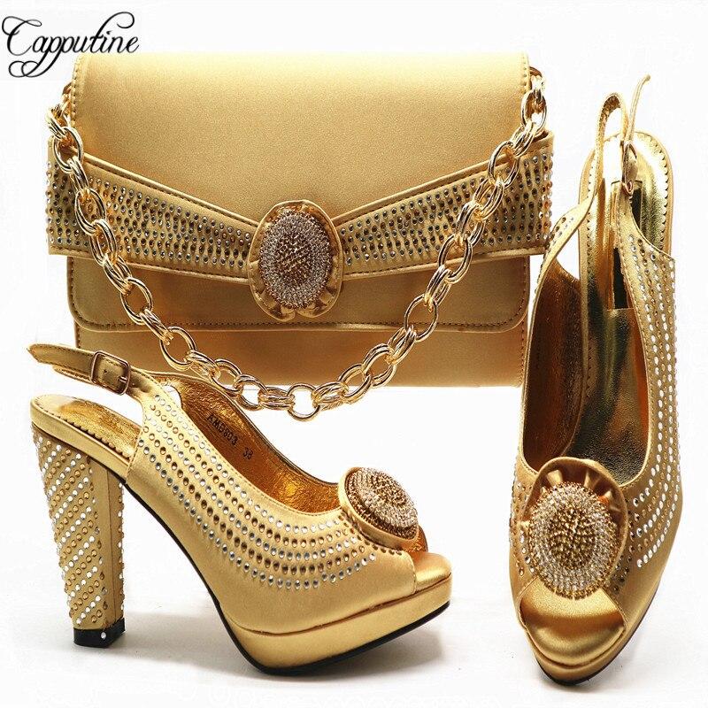 Italian Desgin Pumps Sandals Shoes And Bag Set For Wedding Dress Summer Woman High Heels 10CM