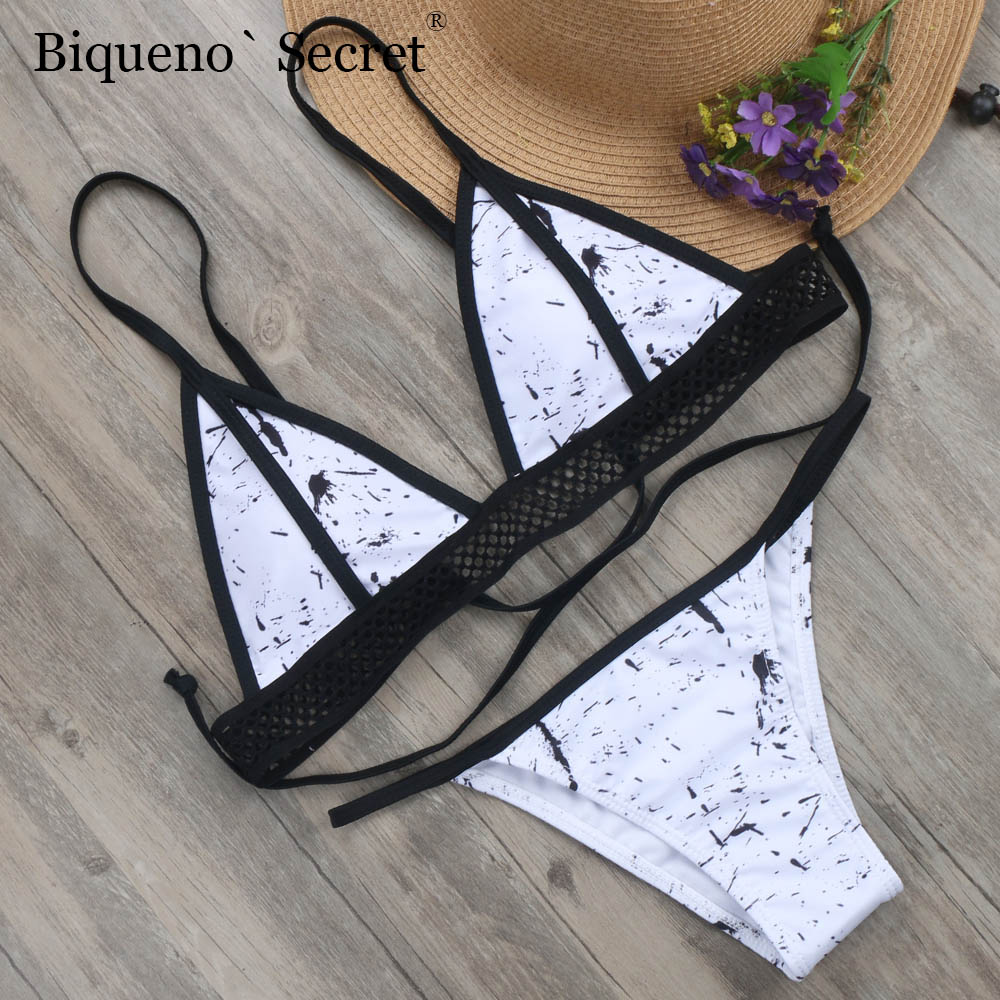 2018 Hollow Bikinis Marble Print Swimsuit Female Sexy Thong Brazilian Bikini Bandage Push Up Swimwear Biquini Micro Bathing Suit new swimwear bikinis 2016 high waist bathing suits bandage push up swimsuit women printing hollow high waisted brazilian biquini
