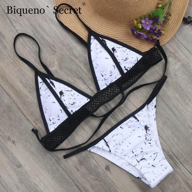 ff143b64bc358 2018 Hollow Bikinis Marble Print Swimsuit Female Sexy Thong Brazilian Bikini  Bandage Push Up Swimwear Biquini