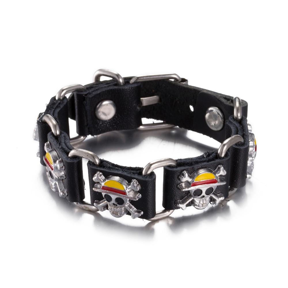 2 Couleurs Punk 100% Véritable En Cuir Corde Chaîne Bracelet Ceinture boucle  Charme Crâne Simple Bracelet Bracelet pour Femmes et Hommes cadeau. 4ab4e4be61f