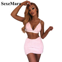 2890b3648e ANJAMANOR Faux Fur Pink Sexy Two Piece Set Halter Bralette Crop Top and  Mini Skirt Autumn