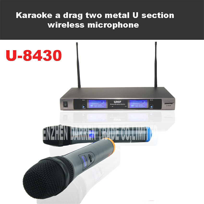 Professional UHF Handheld Wireless Microphone System Karaoke LED Display Metal 2 Cordless Mic With Receiver For Singer U-8430 цены онлайн