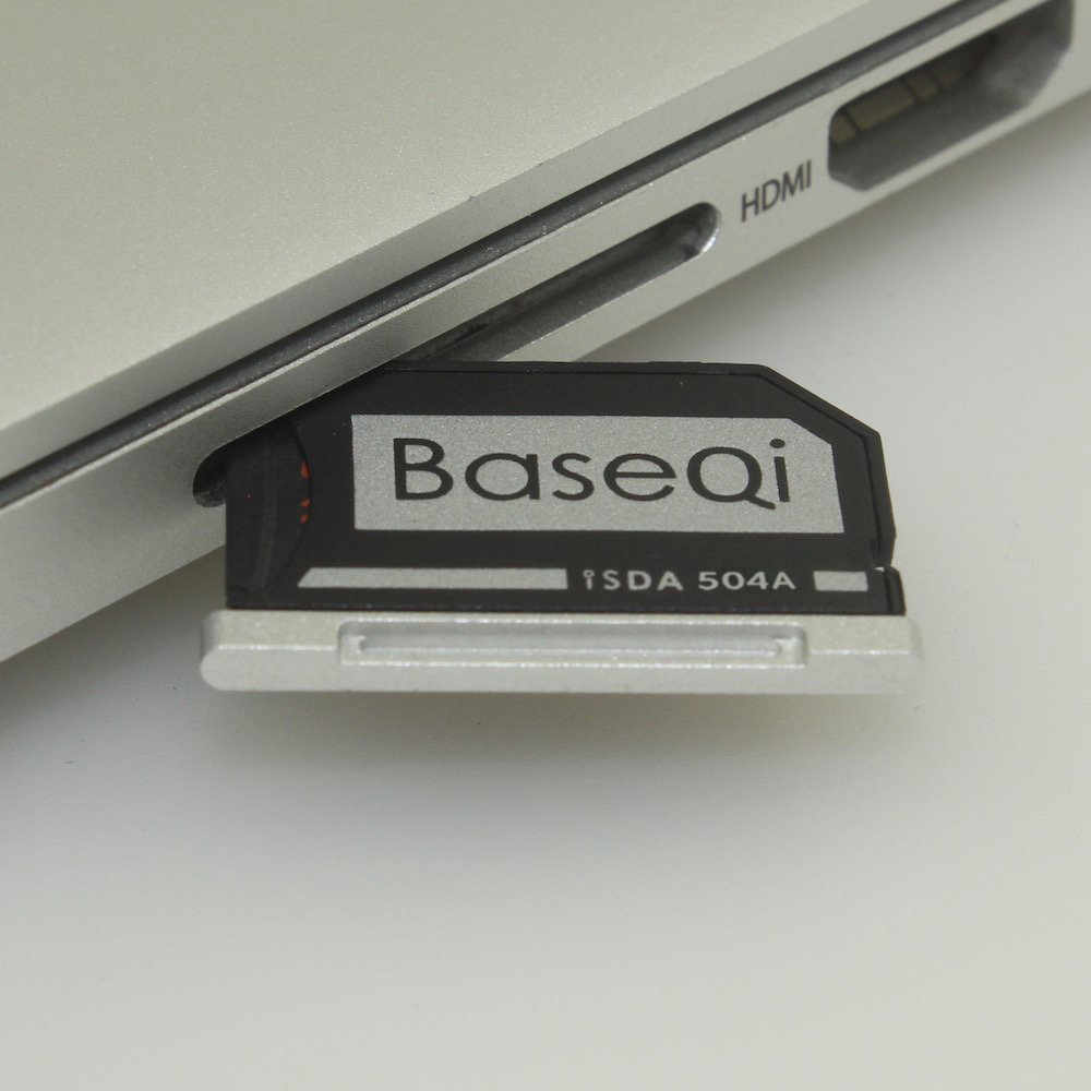 BASEQI Aluminum MiniDrive Micro SD Card Adapter Memory Card Reader For Macbook Pro Retina 15'' Late 2013/After Model 504A