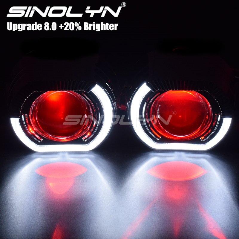 Sinolyn LED feux de course ange yeux HID Bi xénon projecteur lentilles pour phares H4 H7 voiture rénovation phare lentille diable yeux