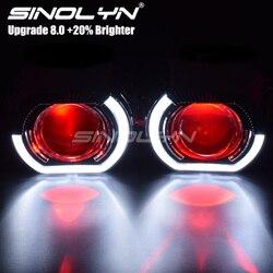 Sinolyn, luces LED para correr, Ojos de Ángel, lentes de proyector de bi xenon HID para faros H4 H7, retroadaptación de coche, lentes para faros, ojos de diablo