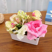 Realistic Large Rose With Artificial Orchid Bonsai For Wedding High Quality Potted Silk Flowers Foam Berries