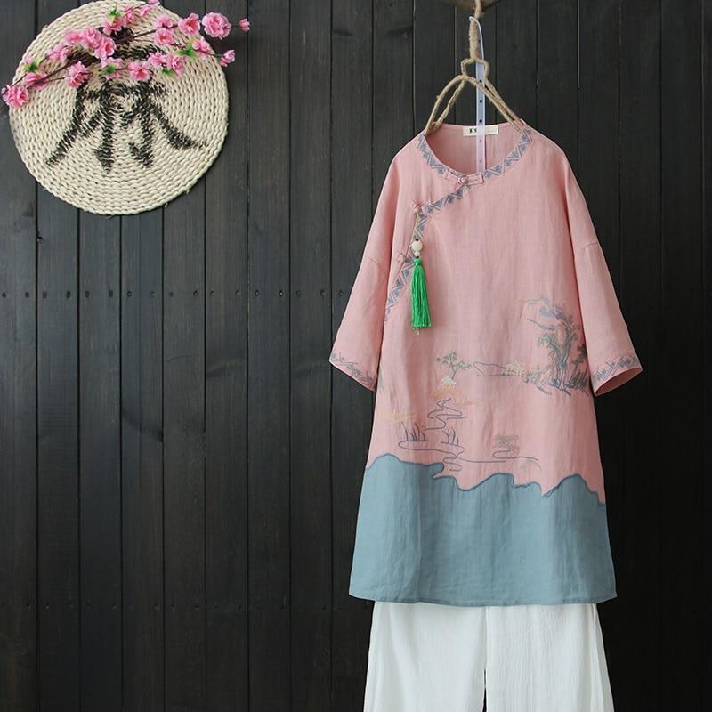 Chinese shirt women traditional chinese clothing Linen shirt women linen clothes mandarin collar cheongsam top shirt DD1483 Рубашка