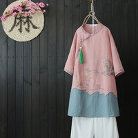 Chinese shirt women traditional chinese clothing Linen shirt women linen clothes mandarin collar cheongsam top shirt DD1483