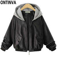 Womens Fashion PU Leather Jackets with Cap Plus Size Female Spring Outwear Faux Soft Leather Coat with Pockets 2019 New