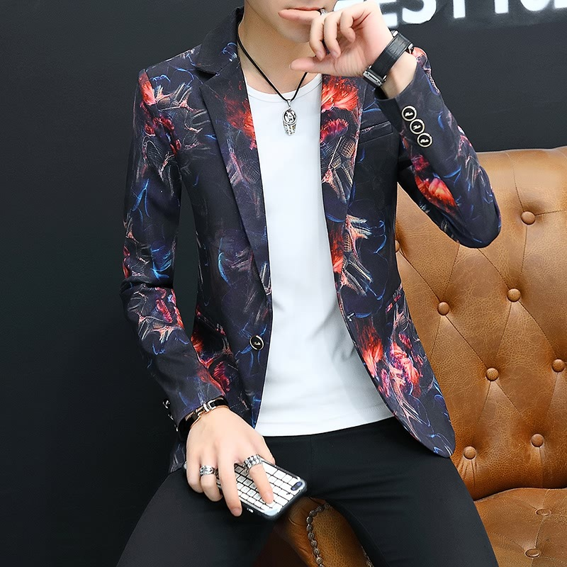 Spring 2019 Men Cultivate One's Morality Printing Tide Suit Hot Stamping Color Suit