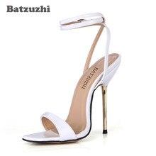 2bd473ad7 Batzuzhi 100% Brand New Mulheres Sexy Sandália Sapatos Branco com Tira No Tornozelo  12.4 cm