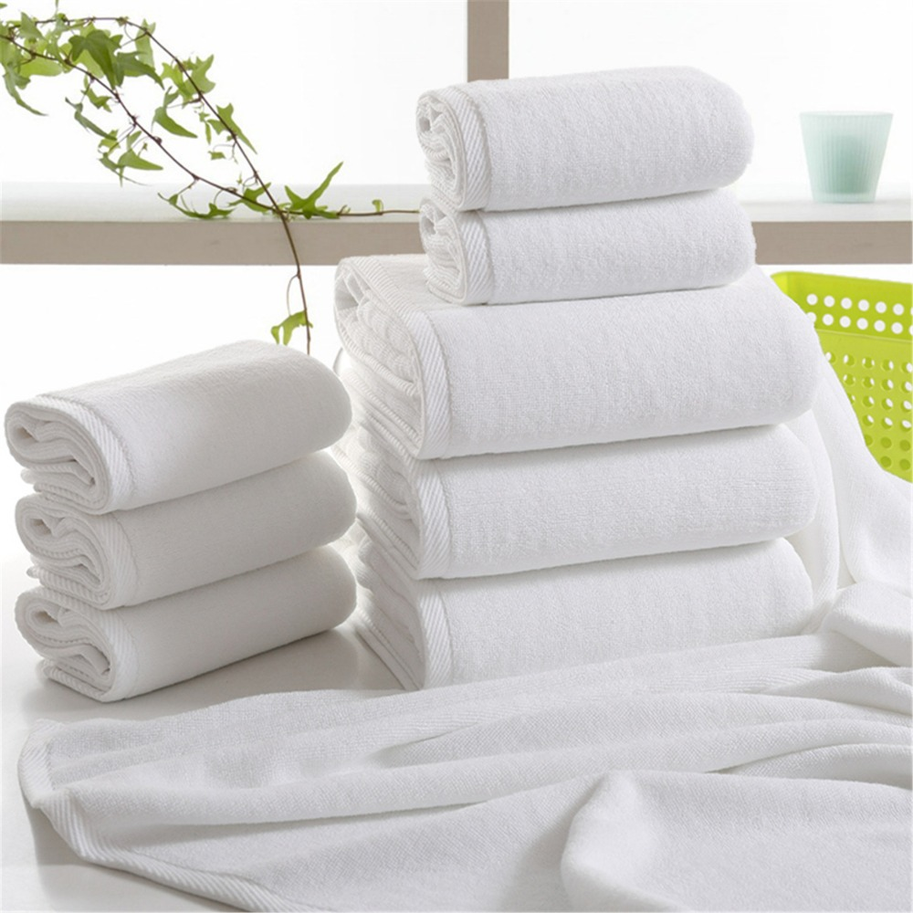 Disposable Sheets For Hotels: FUYA Solid White Hotel Towels 600g Cotton Towel Set Face