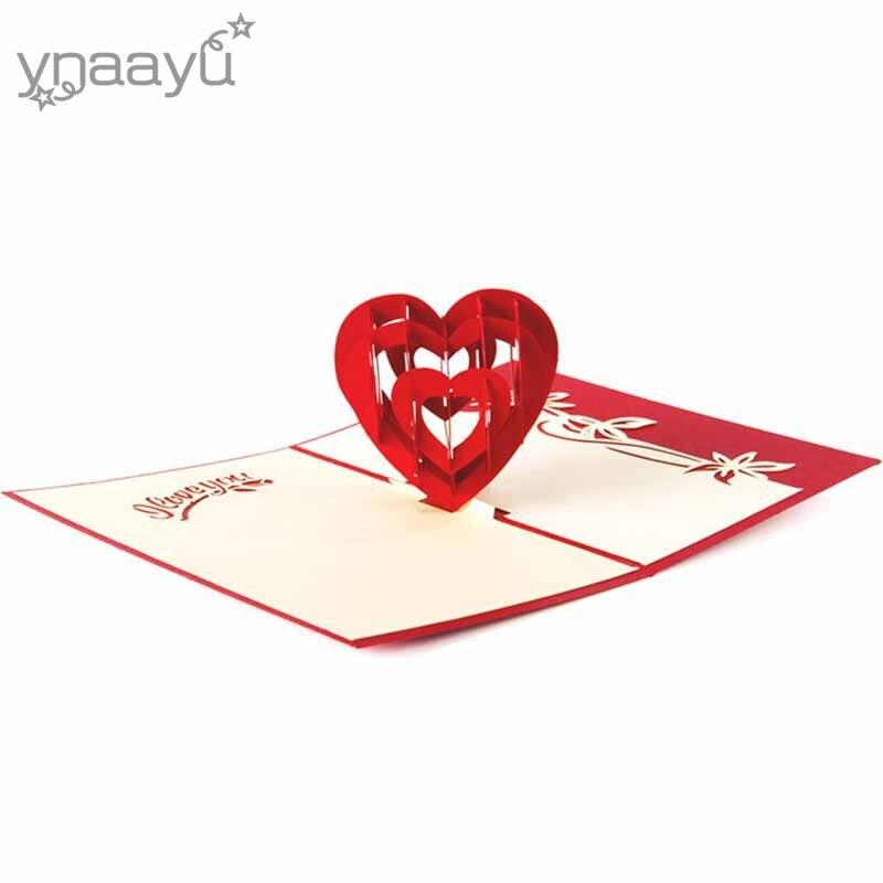 Ynaayu 1 Piezas 3d Amor Corazón Tarjetas De Felicitación