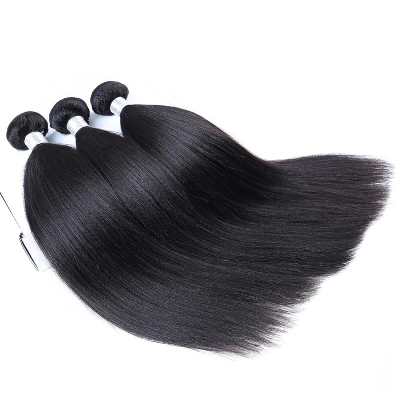 Yaki Straight Hair Brazilian Hair Weave Bundles 3 Pieces Light Yaki 100 Human Hair Extension Remy