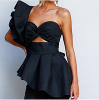 High Quality Women's Fashion Ruffles Sexy Tops Black and White Color Sexy Top wear