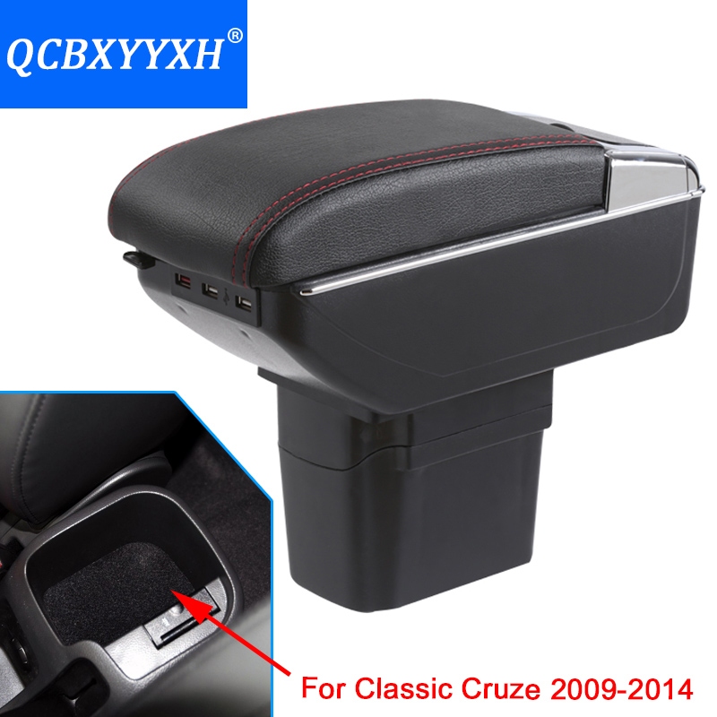 Cover For Chevrolet Cruze 2009-2014 Armrest Box Central Store Content Box Cup Holder Interior Car-styling Products Accessory qcbxyyxh for chevrolet sail 3 armrest central store content storage box with cup holder ashtray abs leather accessory 2015 2018