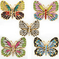 Lovely Mixed Colored Crystals Butterfly Brooch Luxury Austria Crystals Enamel Butterfly Brooch Pins