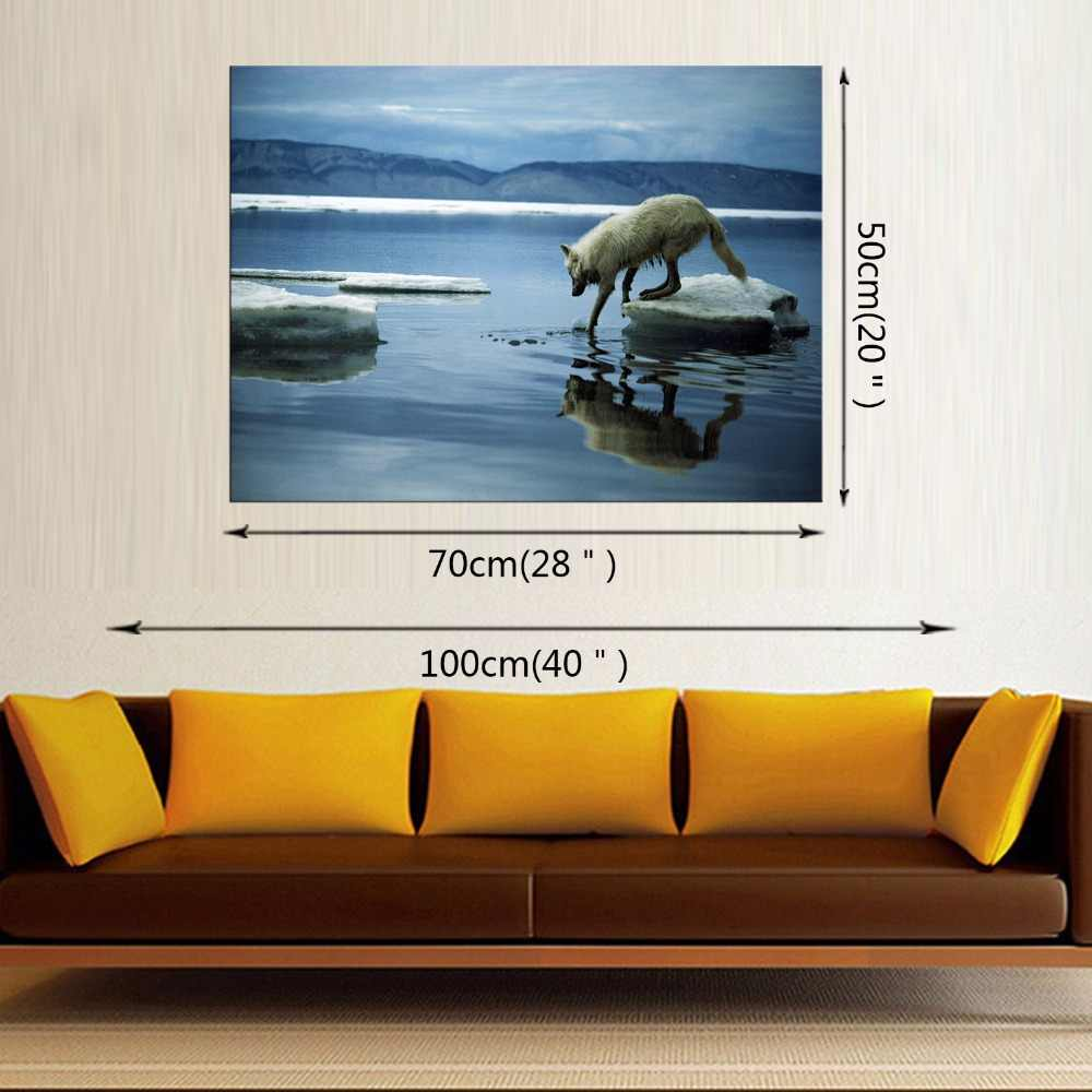 1 Panel Wolfs Stand On River Bank Wall Art Painting Pictures Print On Canvas Animal The Picture Home Modern Decoration Framed