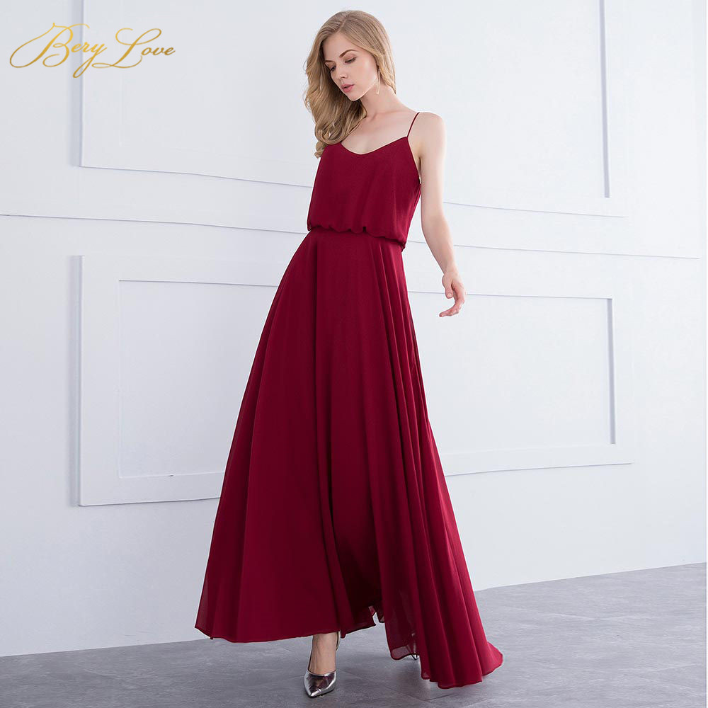 BeryLove Simple Burgundy   Evening     Dresses   2019 Spaghetti Straps Prom   Dresses   Women   Dress   Special Occasion   Dresses   Party Gowns